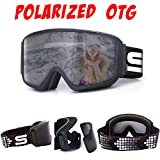 Polarized Ski Goggles OTG fit Over Glasses with Anti Fog Locking Magnetic Lens Comfortable Foam Wide Field of View for Men or Women (Black)