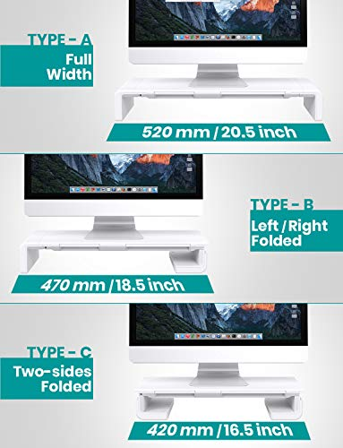 51ykZX6PTmL - Klearlook Foldable Monitor Stand Built in Storage Drawer Tablet&Phone Stand Holder, Width Adjustable Desktop Monitor Screen Riser,Anti-Slip Monitor Mount for Computer/Printer/Laptops/TV-White