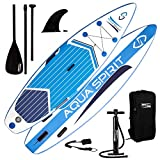 AQUA SPIRIT Premium Inflatable Stand Up Paddle Board for Adults & Youth | Beginner & Intermediate iSUP Hybrid Touring & Racing Model | Plus Adjustable Aluminum Paddle, Carry Bag & SUP Safety Leash