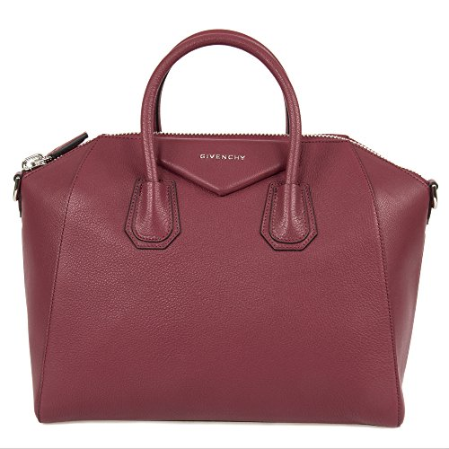 51ymFuLsIuL Givenchy Antigona Sugar Goatskin Leather Satchel Bag   Oxblood Red with Silver Hardware   Medium Goatskin Leather 13 x 11 x 7.5 Inches