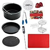 7 Inch Air Fryer Accessories 12pcs - Non-stick Barrel/Pan + Metal Holder + Multi-Purpose Rack +Baking Mat + Digital Meat Thermometer with Skewers and Silicone Mat, Cookbook Included