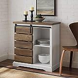 """WE Furniture Buffet, 32"""", Solid White/Rustic Oak"""