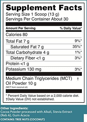 Perfect Keto MCT Oil C8 Powder, Coconut Medium Chain Triglycerides for Pure Clean Energy, Ketogenic Non Dairy Coffee Creamer, Bulk Supplement, Helps Boost Ketones, Chocolate 2