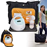 Zohzo Lauren Breast Pump Bag - Portable Tote Bag Great for Travel or Storage - Includes Padded Laptop Sleeve - Fits Most Major Pumps Including Medela and Spectra Breastpump (Black)