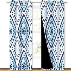 Light Blue Geometric Curtains