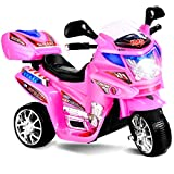 Costzon Ride On Motorcycle, 6V Battery Powered 3 Wheels Electric Bicycle, Ride On Vehicle with Music, Horn, Headlights for Kids (Pink)