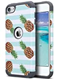 ULAK Pineapple Case for iPod Touch Case 6th Generation, Protective Hybrid Dual Layer Soft Silicone and Hard Back Cover, Green