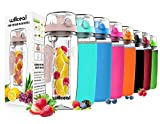 Willceal Fruit Infuser Water Bottle 32oz Durable, Large - BPA Free Tritan, Flip Lid, Leak Proof Design - Sports, Camping (Rose Gold)