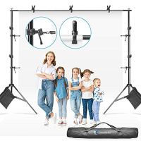 LimoStudio Photo Video Muslin Backdrop Support Stands, Adjustable 10 ft. Wide Cross Bar 7.3 ft. Tall Background Stand…