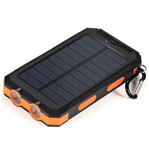 Solar Charger,10000mAh Solar Power Bank Portable External Backup Battery Pack Dual USB Solar Phone Charger with 2LED Light Carabiner and Compass for Your Smartphones and More