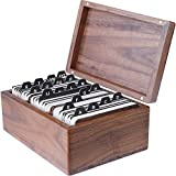 MaxGear Business Card Holder Box Wood Business Card Box Business Card File Business Card Storage Business Index Card Organizer Rolodex, Capacity: 300 Cards, Size: 6.3' x 4.5' x 3', A-Z Index, Walnut