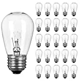 Pack of 26pcs S14 Light Bulbs for String Lights -11 Watt E26 Medium Candelabra Screw Base S14 Warm Replacement Clear Glass Bulbs for Commercial Grade Outdoor Patio Garden Vintage String Lights