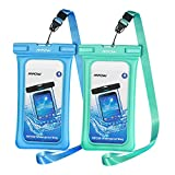 Mpow 084 Waterproof Phone Pouch Floating, IPX8 Universal Waterproof Case Underwater Dry Bag Compatible iPhone Xs Max/Xr/X/8/8plus/7/7plus Galaxy s10/s9/s8 Note 9 Google Pixel up to 6.5' (Blue+Green)
