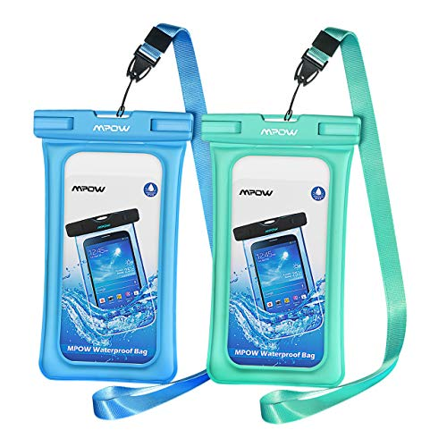 Mpow 084 Waterproof Phone Pouch Floating, IPX8 Universal Waterproof Case Underwater Dry Bag Compatible iPhone Xs Max/Xr/X/8/8plus/7/7plus Galaxy s9/s8 Note 9/8 Google Pixel up to 6.5' (Blue, Green)
