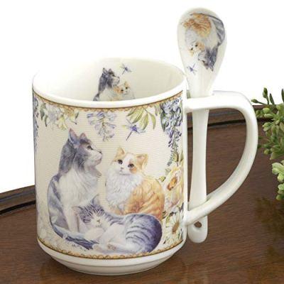 Bits and Pieces – 10 OZ Cat Mug with Teaspoon – Coffee...