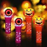 MAOYUE Halloween Light Up Wand/Halloween Light Sticks/Pumpkin & Eyeballs Spinning LED Wand/Halloween Party Favors for Kids-4 Pack