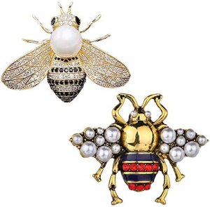 VIEEL 2 Pack Rhinestone Pearl Bee Brooch Pins Honey Bee Pendant/Brooch Fashion Crystal Insect Pins Golden or Silvery for Women