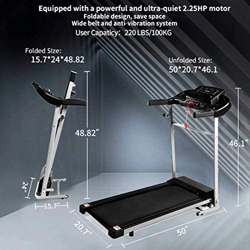 Teblacker Folding Treadmill - 2.25HP Electric Treadmill with LCD Display and Cup Holder - Suitable for Home Office Jogging, Black 6