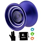 MAGICYOYO Responsive Aluminum Metal Yoyo K7 for Beginners with Glove+3 Strings (Purple)