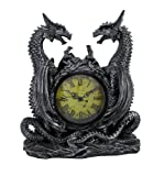 Private Label Twin Evil Dragons Antiqued Mantel Clock Table Desk