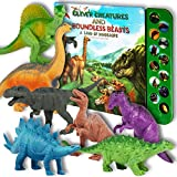 Li'l Gen Dinosaur Toys for Boys and Girls 3 Years Old & Up - Realistic Looking 7' Dinosaurs, Pack of 12 Animal Dinosaur Figures with Dinosaur Sound Book (Dinosaur Set with Sound Book)