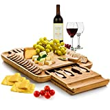 Bambusi Bamboo Cheese Board Set - Wooden Charcuterie Platter and Serving Tray with Cutlery Set | Perfect for Birthday, Housewarming & Wedding Gifts.
