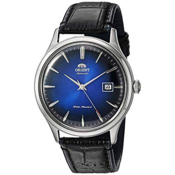 Orient Men's Bambino Version 4 Stainless Steel Japanese-Automatic Watch with Leather Calfskin Strap, Black, 22 (Model: FAC08004D0)