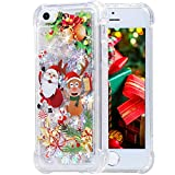iPhone 5 5s SE Case, Flocute iPhone 5s Glitter Christmas Case Bling Sparkle Floating Liquid Soft TPU Cushion Luxury Fashion Girly Women Cute Case for iPhone 5 5s SE (Christmas Moose)