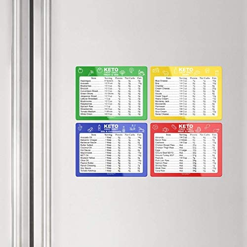 Keto Diet Cheat Sheet Quick Guide Fridge Magnet Reference Charts for Ketogenic Diet Foods - Including Meat & Nuts, Fruit & Veg, Dairy, Oils & Condiments By SunnyKeto (4 Magnets) 4