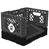 BIGANT Heavy Duty Collapsible & Stackable Plastic Milk Crate - IP403026, 26 Quarts, Small Size, Charc.Gray, Set of 1, Absolute Snap Lock Foldable Industrial Storage Bin Container Utility Basket