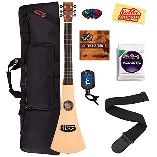 Martin Steel String Backpacker Travel Guitar Bundle with Gig Bag, Strap, Strings, Tuner, Picks, Austin Bazaar Instructional DVD, and Polishing Cloth
