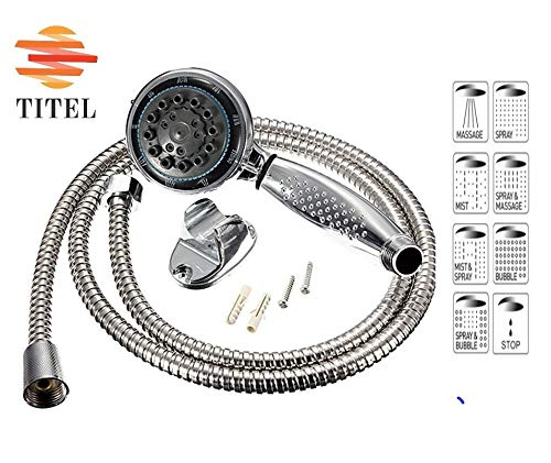 TITEL Shower Head Set - Shower Head with Hose and Support - High pressure device with 8 modes of spraying - Made out of a Luxuriant Material with ABS Crom - The Best Relaxation and Spa Feel