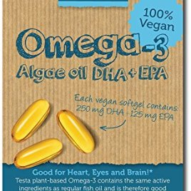 Testa Omega-3 – plant based DHA + EPA from Algae oil – Pure and Vegan Omega-3 – much Healthier than Fish Oil – 60 capsules