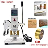 Upgraded Hot Foil Stamping Machine 5x7cm 110V Digital Embossing Machine Manual Tipper Stamper for PVC Leather PU Paper Logo Embossing 1.97'x2.76'