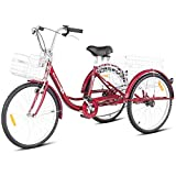 Goplus Adult Tricycle Trike Cruise Bike Three-Wheeled Bicycle with Large Size Basket for Recreation, Shopping, Exercise Men's Women's Bike (Red, 26' Wheel)