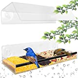 Ohuhu Window Feeder with Strong Suction Cups & Seed Tray, Unique Separation Design Acrylic Feeder with Adjustable Height, Wild Windowsill Feeder for All Weather