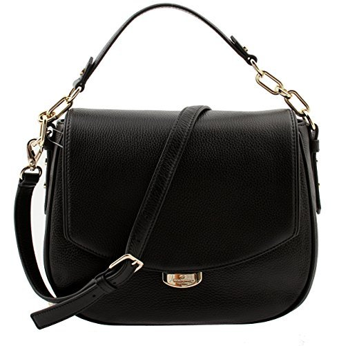 51zHjEgSWKL Black Pebbled Leather Kate Spade Logo Magnetic Snap Clasp in Light Gold Front Flap with Magnetic Snap Closure, Handle Drops 6 Inch