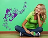 Flying Butterfly with Blossom Flowers Wall Decal by Style & Apply - Wall Sticker, Vinyl Wall Art, Home Decor, Wall Mural - 2230 - 35in x 27in, Sage