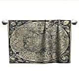 alisoso Astrology,Beach Towels Series of Ancient Mystic Esoteric Old Map with Man Figures with Vintage Symbols Sports Ttowel Ecru Black W 24' x L 8'