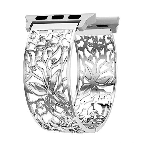 Women Gilrs Compatible Apple Watch Band 38mm Silver, Breathable Crystal Butterfly Relief Hollow Replacement Strap Compatible Apple Watch Series 3, 2, 1, Sport and Nike+, Fashion Jewelry Wristbands