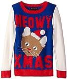 Blizzard Bay Big Girls' Meowy Xmas Kitty Christmas Sweater, Blue/Red/White, Medium