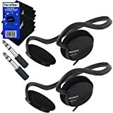 Sony Behind-The-Neck Stereo Headphones with Powerful Bass + 3.5mm Mini Plug to 1/4 inch Headphone Adapter & HeroFiber Ultra Gentle Cleaning Cloth (2 Pack)