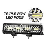 Favoto LED Light Bar 12inch Spot Flood Combo Off Road Driving Lights 26000 Lumens Triple-Row Weatherproof Cars Trucks SUV ATV