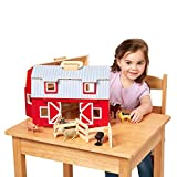 """Melissa & Doug Wooden Fold & Go Barn, Animal & People Play Set (7 Animal Play Figures, 11.25"""" H x 13.5"""" W x 4.7"""" L, Great Gift for Girls and Boys - Best for 3, 4, 5, and 6 Year Olds)"""