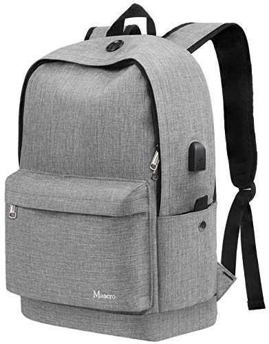 Middle School Backpack, Anti Theft College Student Bookbag w/USB Charging for Teen Girl Boy Men Women, Canvas Water Resistant Computer Daypack for Weekend Travel Outdoor Camping Fit 15.6' Laptop,Grey