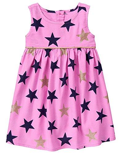 Gymboree - Vestido Estampado de Estrellas para niña, Brillo Rosado, 4 Años
