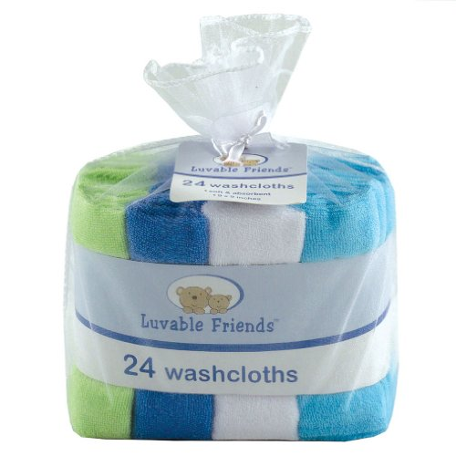 Luvable Friends Washcloths, Assorted Colors, 24 Count