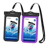 MoKo Waterproof Phone Pouch [2 Pack], Underwater Waterproof Cellphone Case Dry Bag with Lanyard Armband Compatible with iPhone X/Xs/Xr/Xs Max, 8/7/6s Plus, Samsung S10/S9/S8 Plus, S10 e, Up to 6.5'