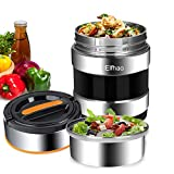Thermal Insulation lunch Box Stainless Steel Vacuum Insulated Carrier Bento Box Travel Hiking Camping Picnics Food Jar Capacity 1.4L (2 Layers?) Black