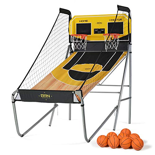 A11N Sharpshooter Dual Shot Basketball Shootout Game, 8 Game Options & 8 Balls, Home Office Indoor Arcade Game with Heavy-Duty Frame, LED Scoreboard and Sound Effects, Folding forSpace Saving